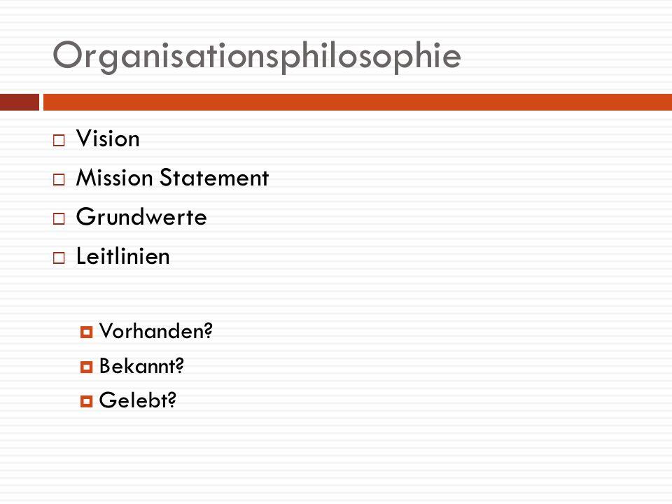 Organisationsphilosophie Vision Mission Statement Grundwerte Leitlinien Vorhanden? Bekannt? Gelebt?