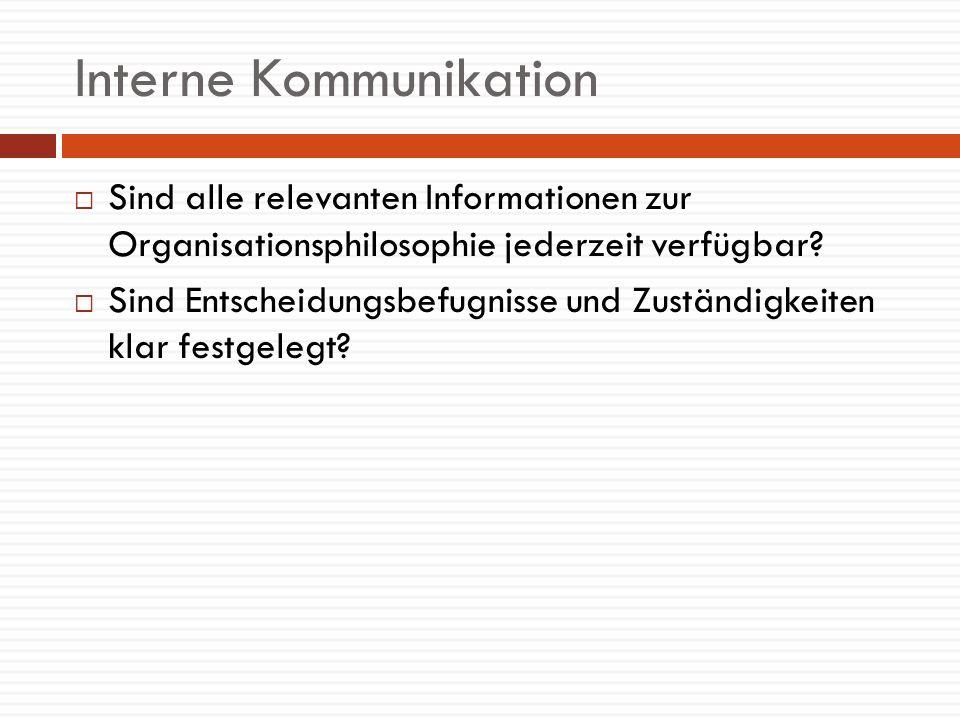 Interne Kommunikation Sind alle relevanten Informationen zur Organisationsphilosophie jederzeit verfügbar? Sind Entscheidungsbefugnisse und Zuständigk