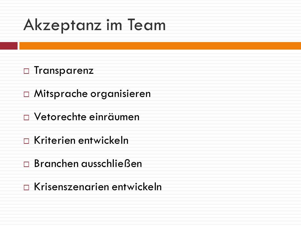 Akzeptanz im Team Transparenz Mitsprache organisieren Vetorechte einräumen Kriterien entwickeln Branchen ausschließen Krisenszenarien entwickeln