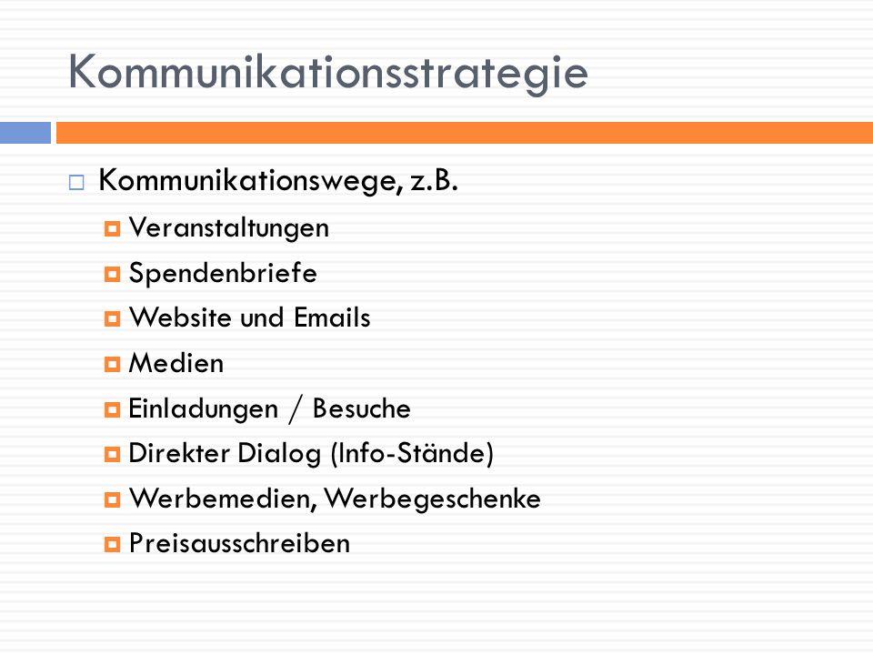 Kommunikationsstrategie Kommunikationswege, z.B. Veranstaltungen Spendenbriefe Website und Emails Medien Einladungen / Besuche Direkter Dialog (Info-S