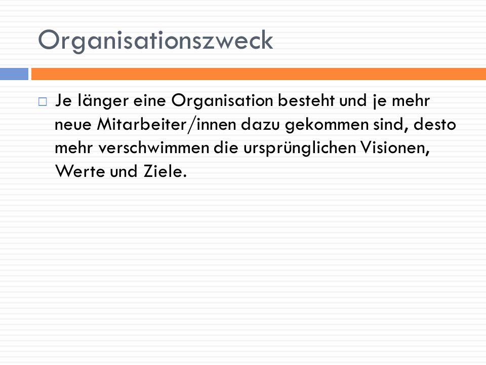 Organisationszweck Je länger eine Organisation besteht und je mehr neue Mitarbeiter/innen dazu gekommen sind, desto mehr verschwimmen die ursprünglich