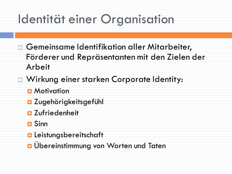 Identität einer Organisation Gemeinsame Identifikation aller Mitarbeiter, Förderer und Repräsentanten mit den Zielen der Arbeit Wirkung einer starken