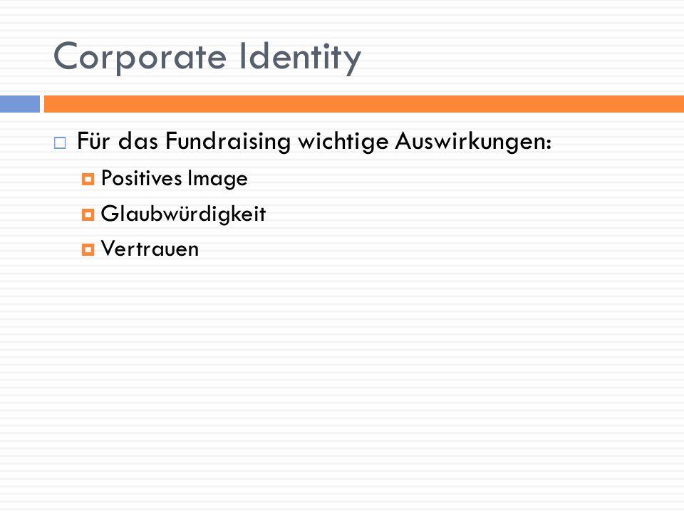 Corporate Identity Für das Fundraising wichtige Auswirkungen: Positives Image Glaubwürdigkeit Vertrauen