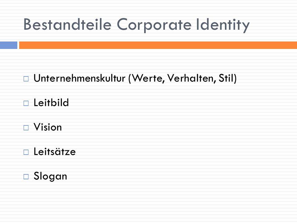 Instrumente der Corporate Identity Corporate Design – ein einheitliches und gut wiedererkennbares Erscheinungsbild mit: Logo Farben Schriften Formaten Papieren verbindlich festgelegt im CD-Manual