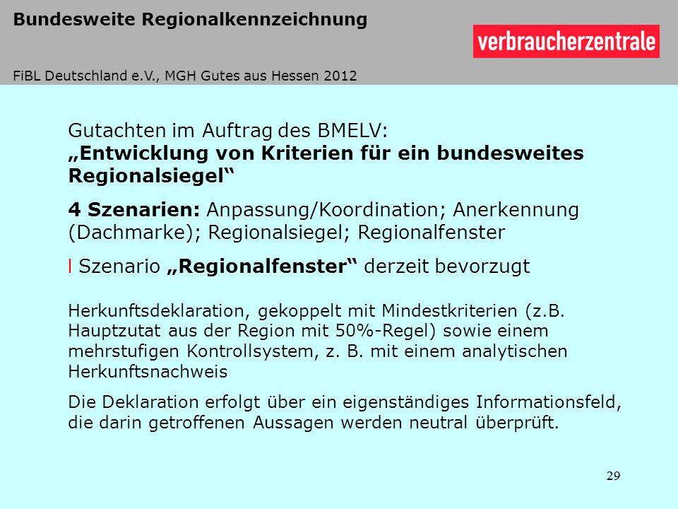 Gutachten im Auftrag des BMELV: Entwicklung von Kriterien für ein bundesweites Regionalsiegel 4 Szenarien: Anpassung/Koordination; Anerkennung (Dachma