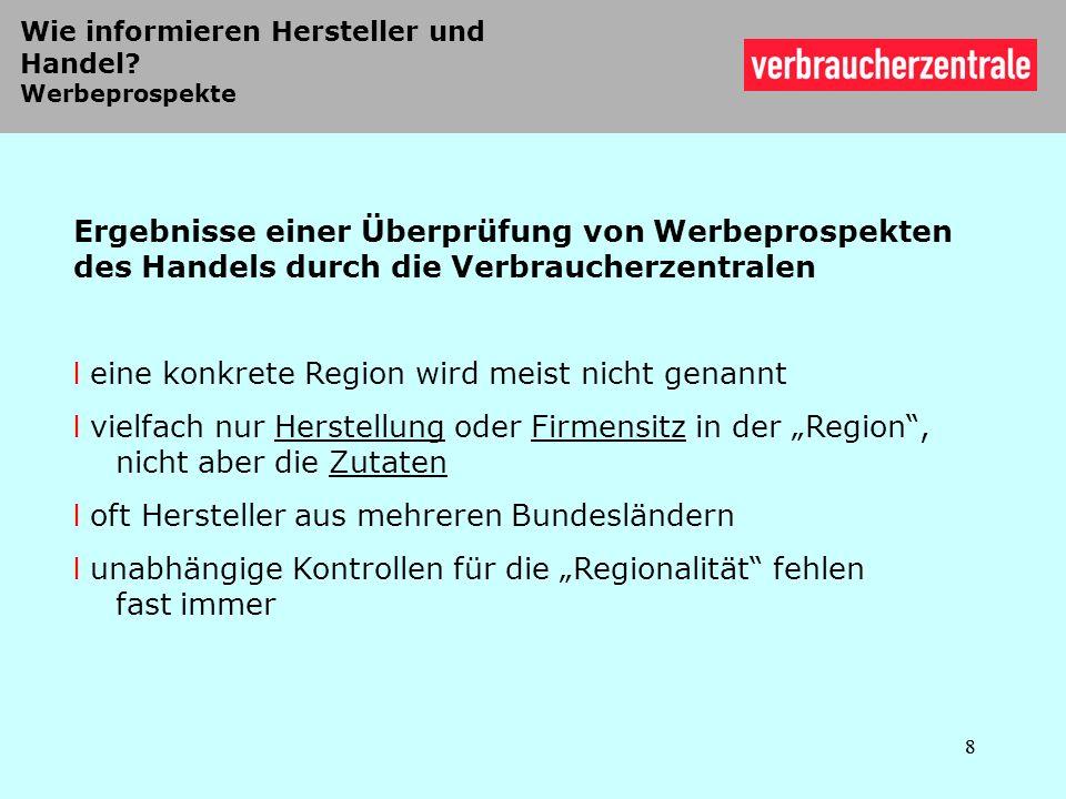 19 Unterschiedliche Kriterien für Herkunft der Zutaten bei verarbeiteten Regionalprodukten 19 Baden-Württemberg und Bayern: strikte Vorgaben Monoprodukte und Roh- ware zur Herstellung von verarbeiteten Produkten bis auf wenige Ausnah- men zu 100% aus dem Bundesland Thüringen: weniger strikte Vorgaben Monoprodukte zu 100% aus der Region, Rohware zur Herstellung von verar- beiteten Produkten mindestens 50,1% aus dem Bundesland Schleswig-Holstein: bislang keine Angaben zu Richtlinien dokumen- tiert; für die Zukunft angedacht: Monoprodukte zu 100%, Rohware in verarbeiteten Produkten zu 51% aus dem Bundesland Spiller, Zühlsdorf, Voss 2010/2011 Länderzeichen in Deutschland