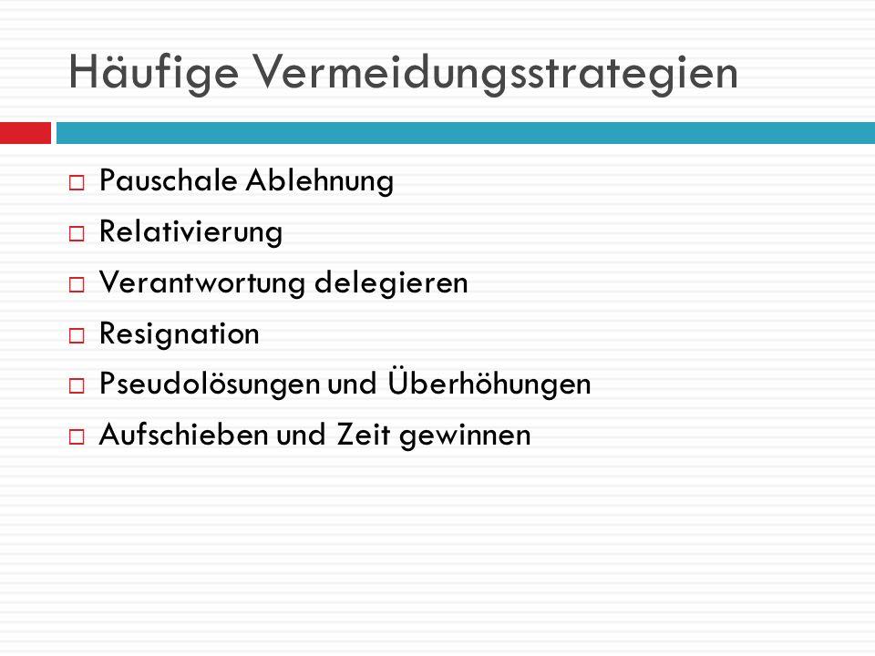 Häufige Vermeidungsstrategien Pauschale Ablehnung Relativierung Verantwortung delegieren Resignation Pseudolösungen und Überhöhungen Aufschieben und Z