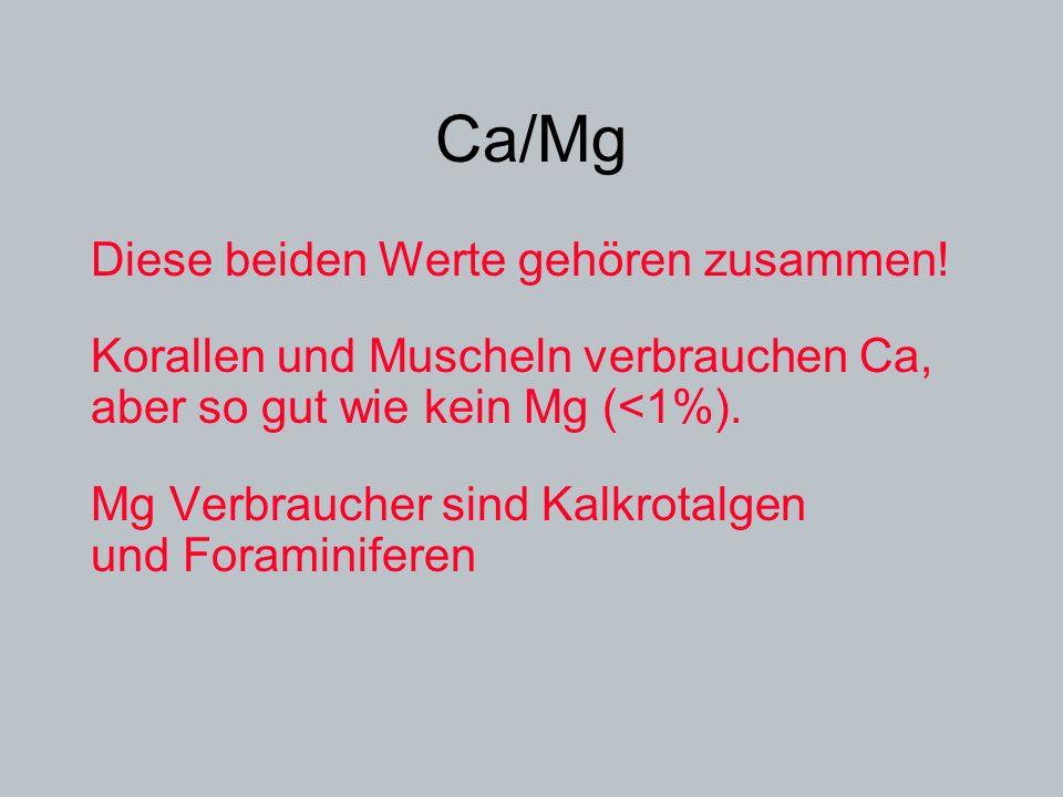 Ca/Mg Diese beiden Werte gehören zusammen! Korallen und Muscheln verbrauchen Ca, aber so gut wie kein Mg (<1%). Mg Verbraucher sind Kalkrotalgen und F