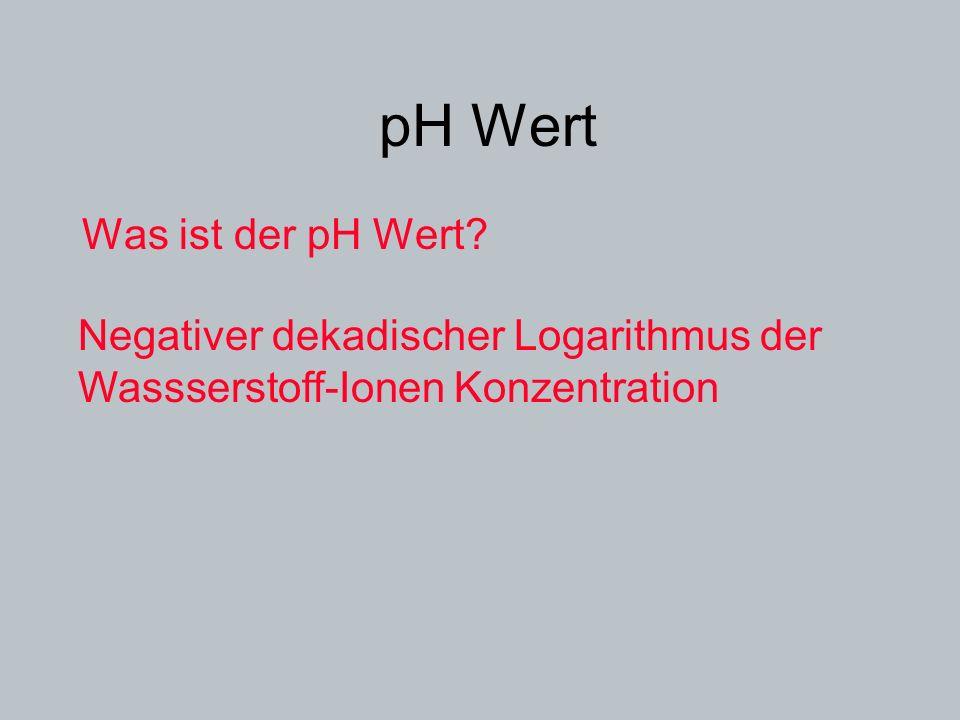 pH Wert Was ist der pH Wert? Negativer dekadischer Logarithmus der Wassserstoff-Ionen Konzentration