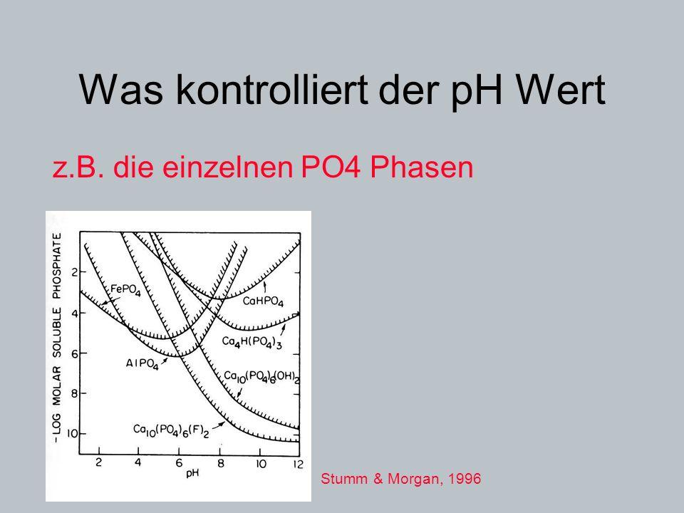 Was kontrolliert der pH Wert z.B. die einzelnen PO4 Phasen Stumm & Morgan, 1996