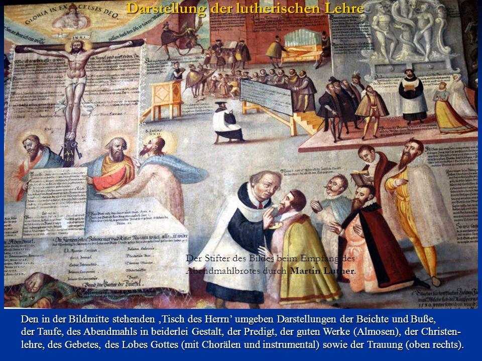 Den in der Bildmitte stehenden Tisch des Herrn umgeben Darstellungen der Beichte und Buße, der Taufe, des Abendmahls in beiderlei Gestalt, der Predigt, der guten Werke (Almosen), der Christen- lehre, des Gebetes, des Lobes Gottes (mit Chorälen und instrumental) sowie der Trauung (oben rechts).