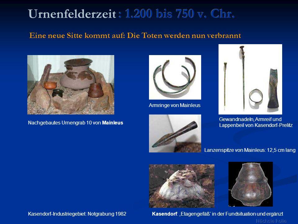 Nachgebautes Urnengrab 10 von Mainleus Armringe von Mainleus Kasendorf: Etagengefäß in der Fundsituation und ergänzt Gewandnadeln, Armreif und Lappenb
