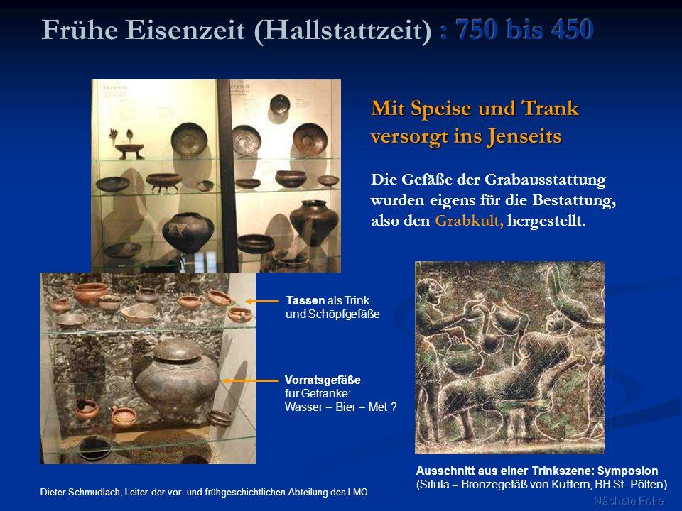 Mit Speise und Trank versorgt ins Jenseits Dieter Schmudlach, Leiter der vor- und frühgeschichtlichen Abteilung des LMO Ausschnitt aus einer Trinkszen