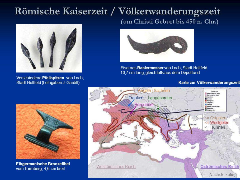 Eisernes Rasiermesser von Loch, Stadt Hollfeld: 10,7 cm lang, gleichfalls aus dem Depotfund Römische Kaiserzeit / Völkerwanderungszeit Verschiedene Pf