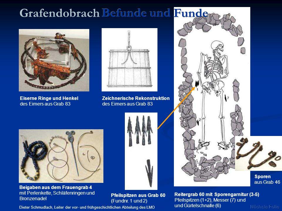 Zeichnerische Rekonstruktion des Eimers aus Grab 83 Pfeilspitzen aus Grab 60 (Fundnr. 1 und 2) Reitergrab 60 mit Sporengarnitur (3-5) Pfeilspitzen (1+