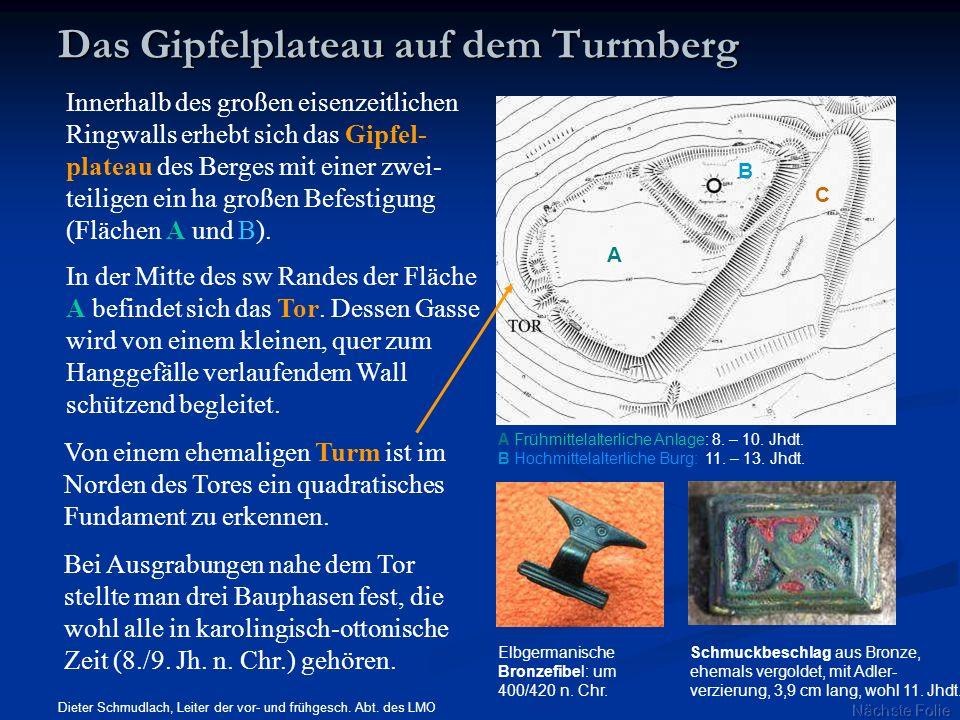 Innerhalb des großen eisenzeitlichen Ringwalls erhebt sich das Gipfel- plateau des Berges mit einer zwei- teiligen ein ha großen Befestigung (Flächen