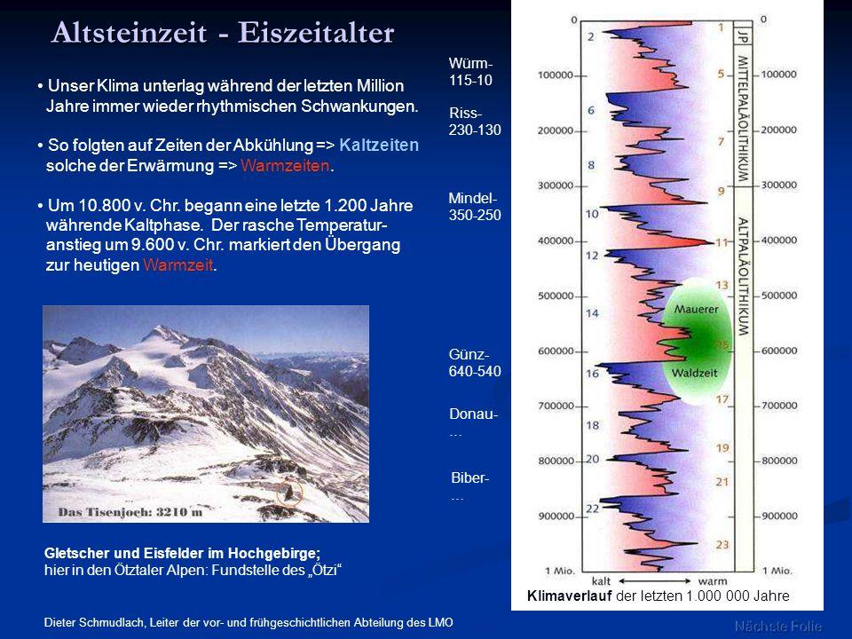 Altsteinzeit - Eiszeitalter Gletscher und Eisfelder im Hochgebirge; hier in den Ötztaler Alpen: Fundstelle des Ötzi Klimaverlauf der letzten 1.000 000