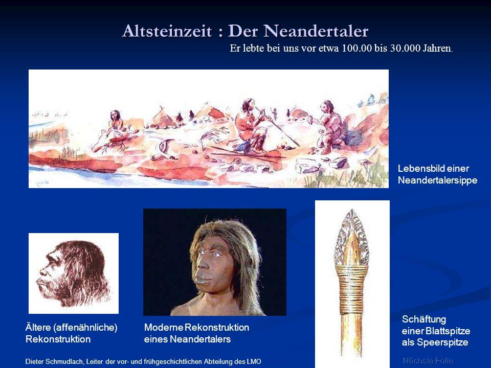 Altsteinzeit : Der Neandertaler Lebensbild einer Neandertalersippe Schäftung einer Blattspitze als Speerspitze Ältere (affenähnliche) Rekonstruktion M