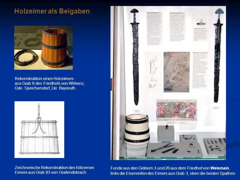 Zeichnerische Rekonstruktion des hölzernen Eimers aus Grab 83 von Grafendobrach Funde aus den Gräbern 3 und 20 aus dem Friedhof von Weismain, links di