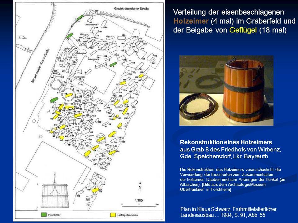 Verteilung der eisenbeschlagenen Holzeimer (4 mal) im Gräberfeld und der Beigabe von Geflügel (18 mal) Plan in Klaus Schwarz, Frühmittelalterlicher La
