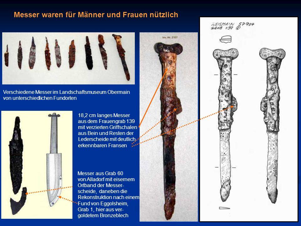 Messer waren für Männer und Frauen nützlich Messer aus Grab 60 von Alladorf mit eisernem Ortband der Messer- scheide, daneben die Rekonstruktion nach