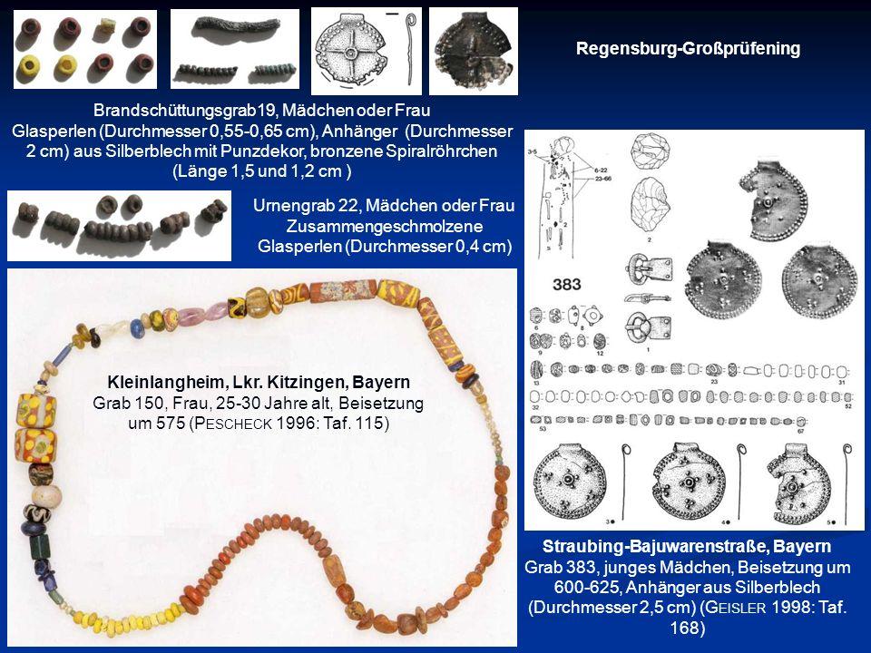 Regensburg-Großprüfening Brandschüttungsgrab19, Mädchen oder Frau Glasperlen (Durchmesser 0,55-0,65 cm), Anhänger (Durchmesser 2 cm) aus Silberblech m