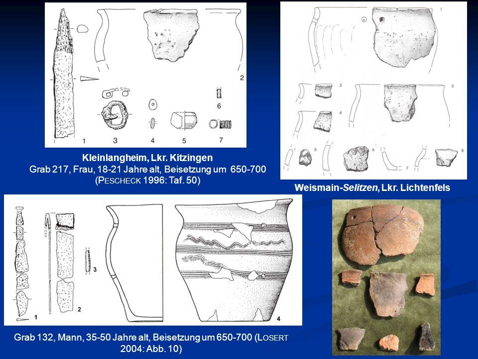 Grab 132, Mann, 35-50 Jahre alt, Beisetzung um 650-700 (L OSERT 2004: Abb. 10) Kleinlangheim, Lkr. Kitzingen Grab 217, Frau, 18-21 Jahre alt, Beisetzu