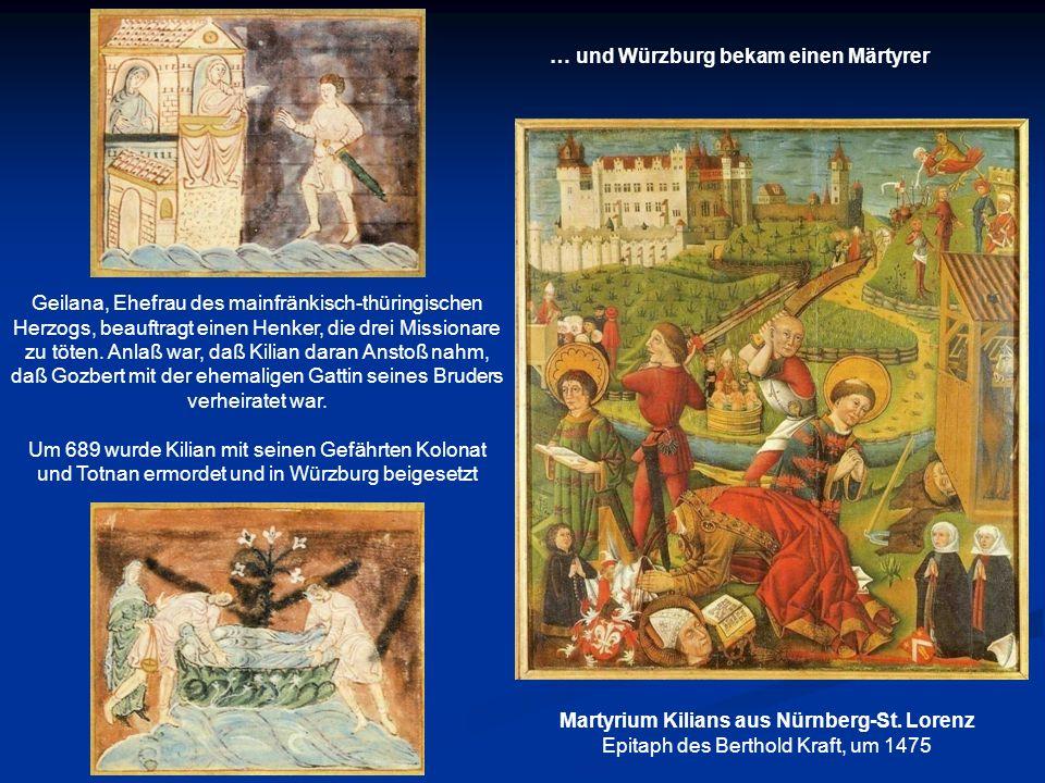 Geilana, Ehefrau des mainfränkisch-thüringischen Herzogs, beauftragt einen Henker, die drei Missionare zu töten. Anlaß war, daß Kilian daran Anstoß na