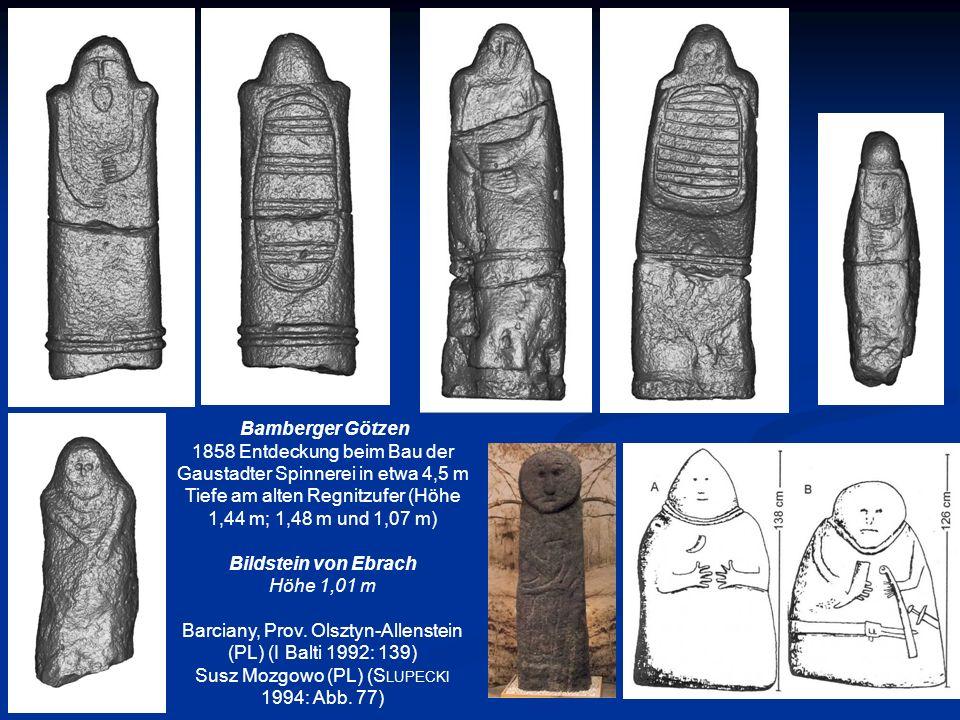 Bamberger Götzen 1858 Entdeckung beim Bau der Gaustadter Spinnerei in etwa 4,5 m Tiefe am alten Regnitzufer (Höhe 1,44 m; 1,48 m und 1,07 m) Bildstein