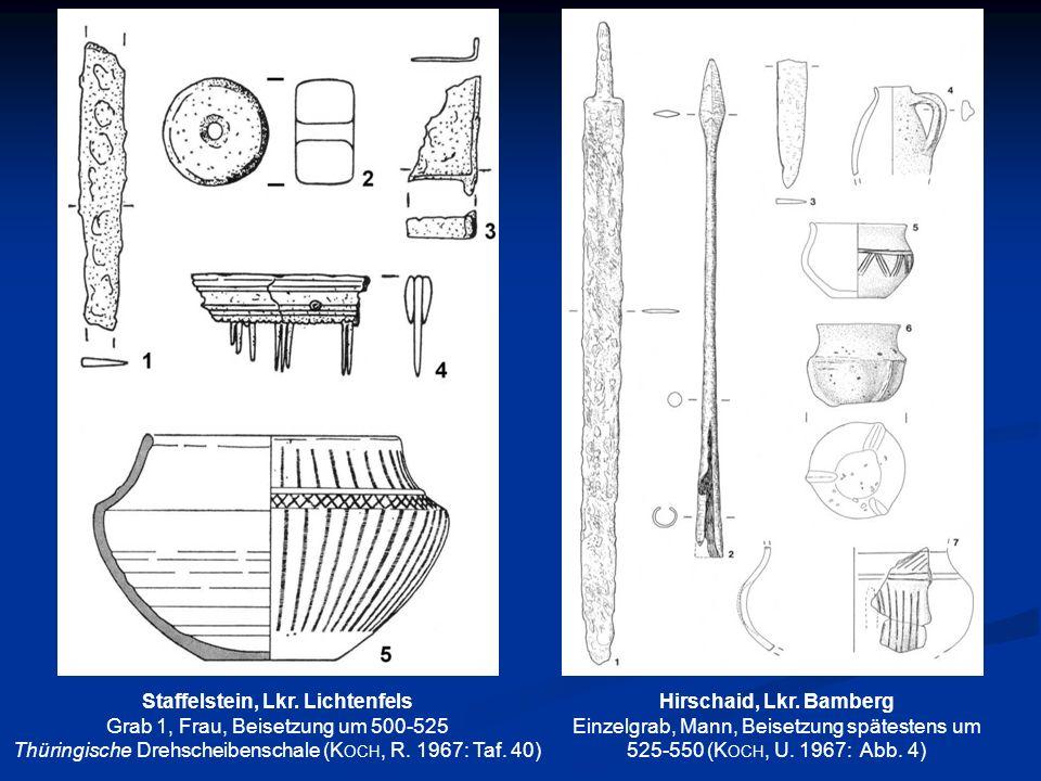 Weismain-Selitzen Grab 53, Mädchen, 19 Jahre alt, Beisetzung um oder kurz nach 800 Zwei Paare silberner Kopfschmuckringe (Reifdurchmesser 3,4-3,5 cm) mit rhombischen Pendilien, Messer und geböttcherter Eimer