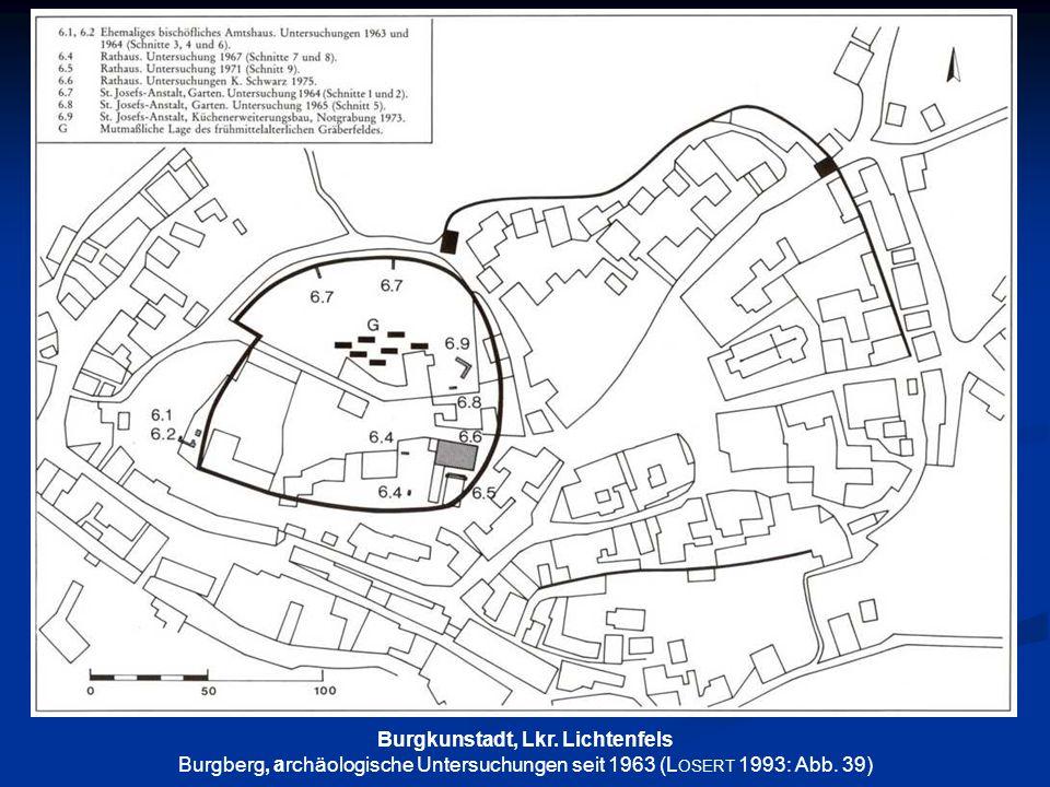 Burgkunstadt, Lkr. Lichtenfels Burgberg, archäologische Untersuchungen seit 1963 (L OSERT 1993: Abb. 39)