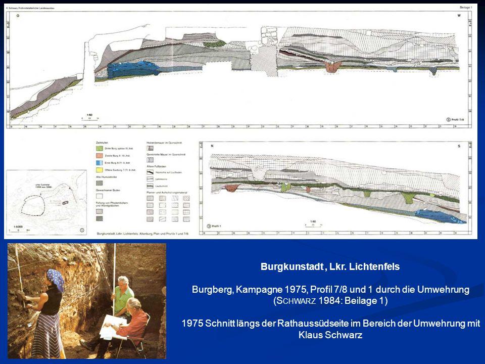 Burgkunstadt, Lkr. Lichtenfels Burgberg, Kampagne 1975, Profil 7/8 und 1 durch die Umwehrung (S CHWARZ 1984: Beilage 1) 1975 Schnitt längs der Rathaus