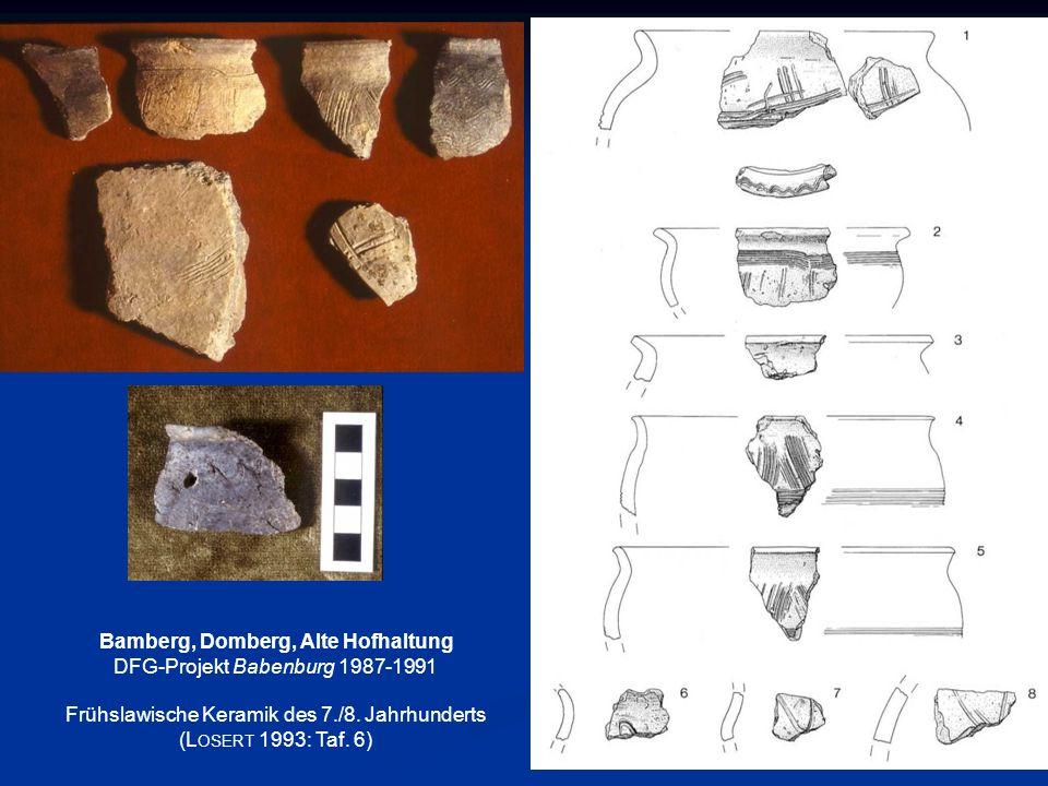 Bamberg, Domberg, Alte Hofhaltung DFG-Projekt Babenburg 1987-1991 Frühslawische Keramik des 7./8. Jahrhunderts (L OSERT 1993: Taf. 6)