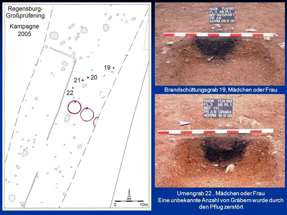 Brandschüttungsgrab 19, Mädchen oder Frau Urnengrab 22, Mädchen oder Frau Eine unbekannte Anzahl von Gräbern wurde durch den Pflug zerstört