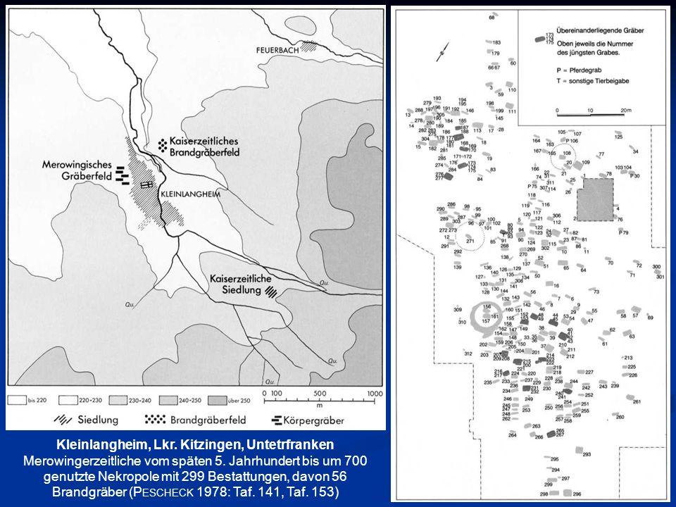 Kleinlangheim, Lkr. Kitzingen, Untetrfranken Merowingerzeitliche vom späten 5. Jahrhundert bis um 700 genutzte Nekropole mit 299 Bestattungen, davon 5