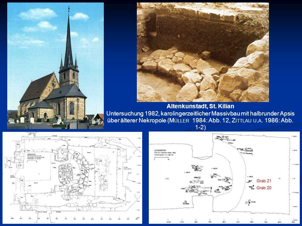 Altenkunstadt, St. Kilian Untersuchung 1982, karolingerzeitlicher Massivbau mit halbrunder Apsis über älterer Nekropole (M ÜLLER 1984: Abb. 12, Z ITTL