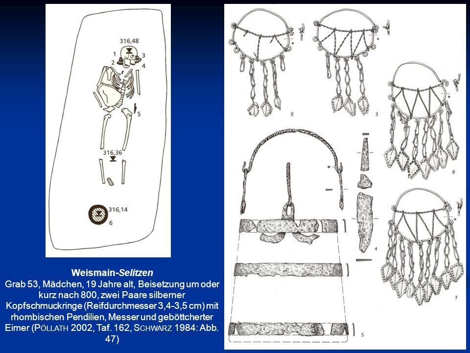Weismain-Selitzen Grab 53, Mädchen, 19 Jahre alt, Beisetzung um oder kurz nach 800, zwei Paare silberner Kopfschmuckringe (Reifdurchmesser 3,4-3,5 cm)