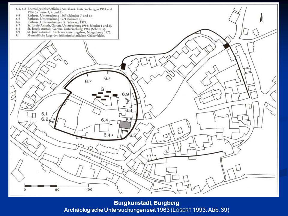 Burgkunstadt, Burgberg Archäologische Untersuchungen seit 1963 (L OSERT 1993: Abb. 39)