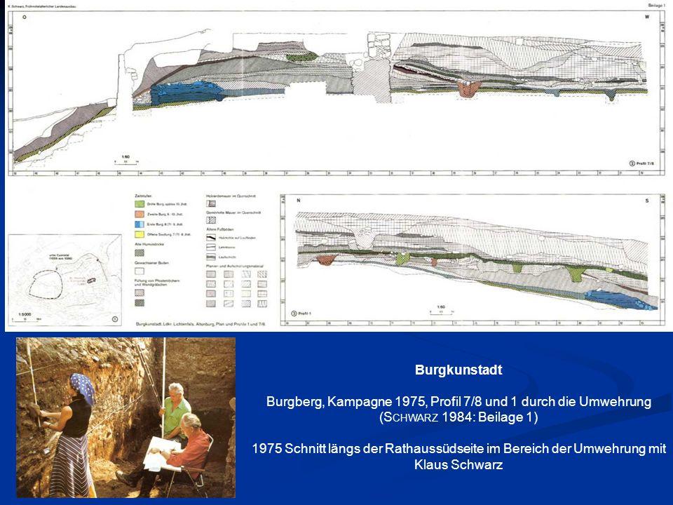 Burgkunstadt Burgberg, Kampagne 1975, Profil 7/8 und 1 durch die Umwehrung (S CHWARZ 1984: Beilage 1) 1975 Schnitt längs der Rathaussüdseite im Bereic