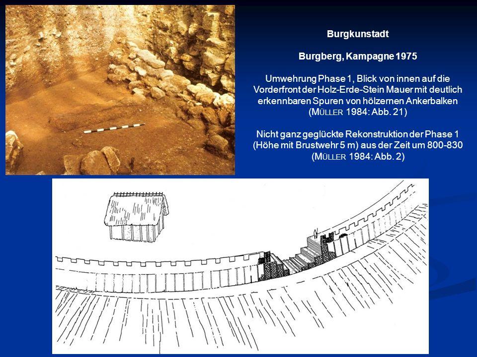 Burgkunstadt Burgberg, Kampagne 1975 Umwehrung Phase 1, Blick von innen auf die Vorderfront der Holz-Erde-Stein Mauer mit deutlich erkennbaren Spuren