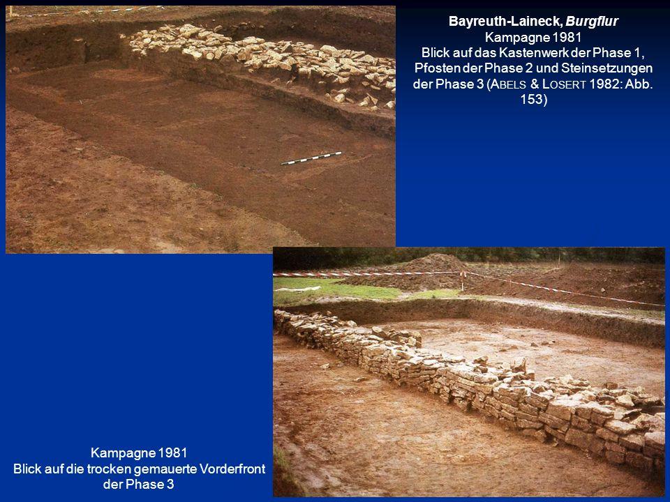 Bayreuth-Laineck, Burgflur Kampagne 1981 Blick auf das Kastenwerk der Phase 1, Pfosten der Phase 2 und Steinsetzungen der Phase 3 (A BELS & L OSERT 19