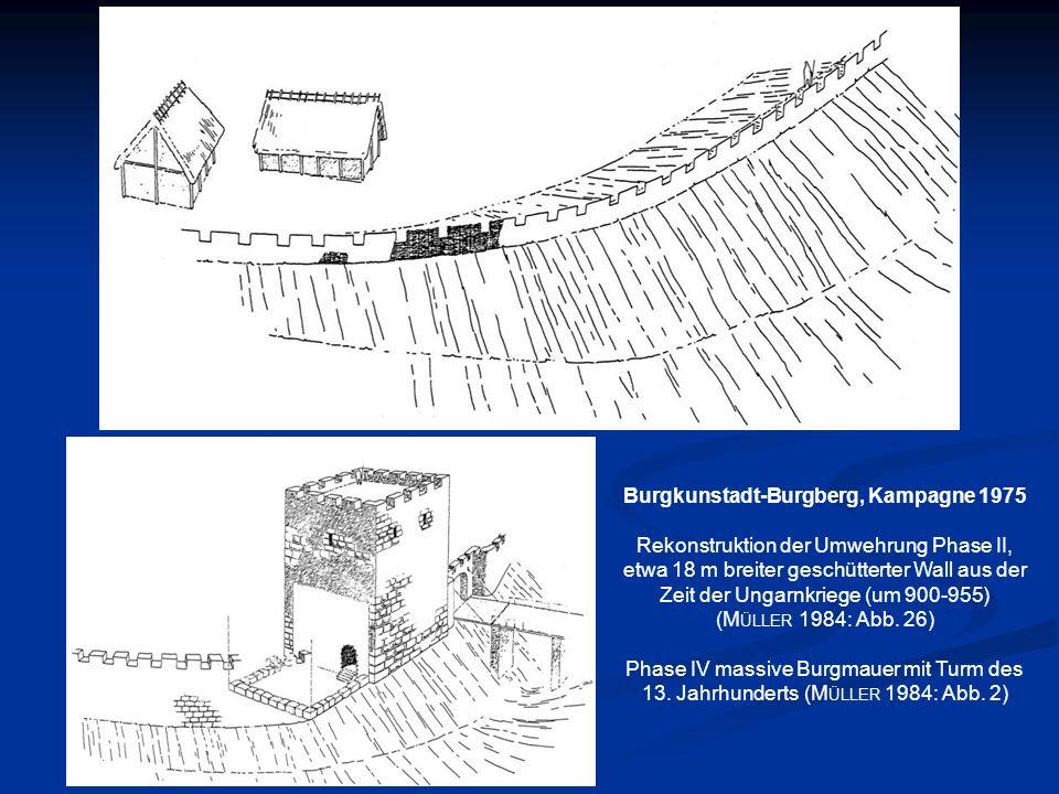 Burgkunstadt-Burgberg, Kampagne 1975 Rekonstruktion der Umwehrung Phase II, etwa 18 m breiter geschütterter Wall aus der Zeit der Ungarnkriege (um 900