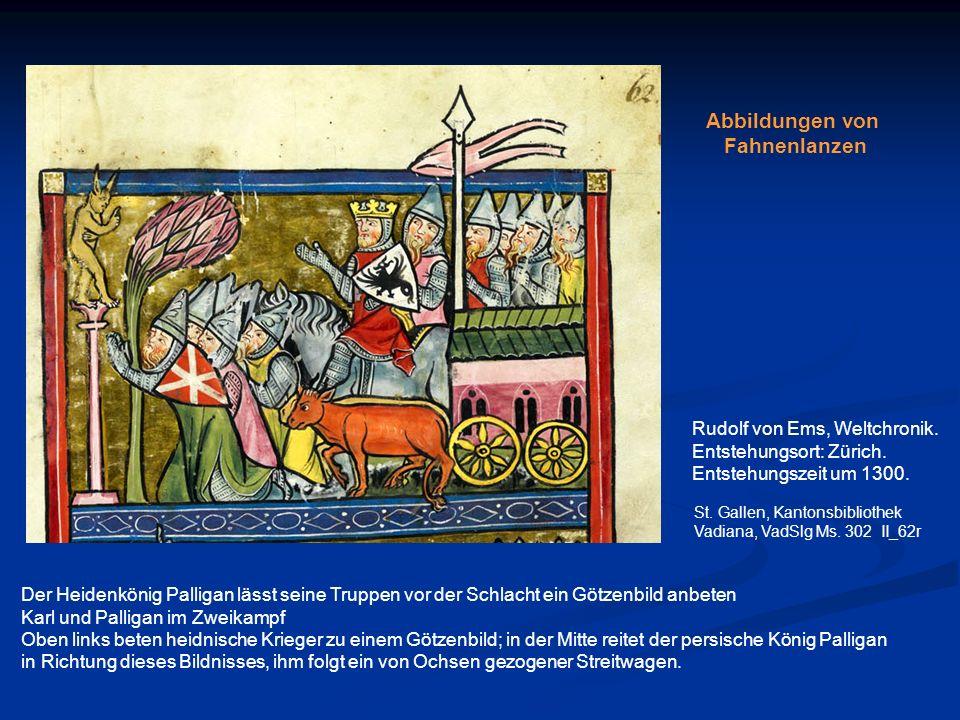 Der Heidenkönig Palligan lässt seine Truppen vor der Schlacht ein Götzenbild anbeten Karl und Palligan im Zweikampf Oben links beten heidnische Kriege