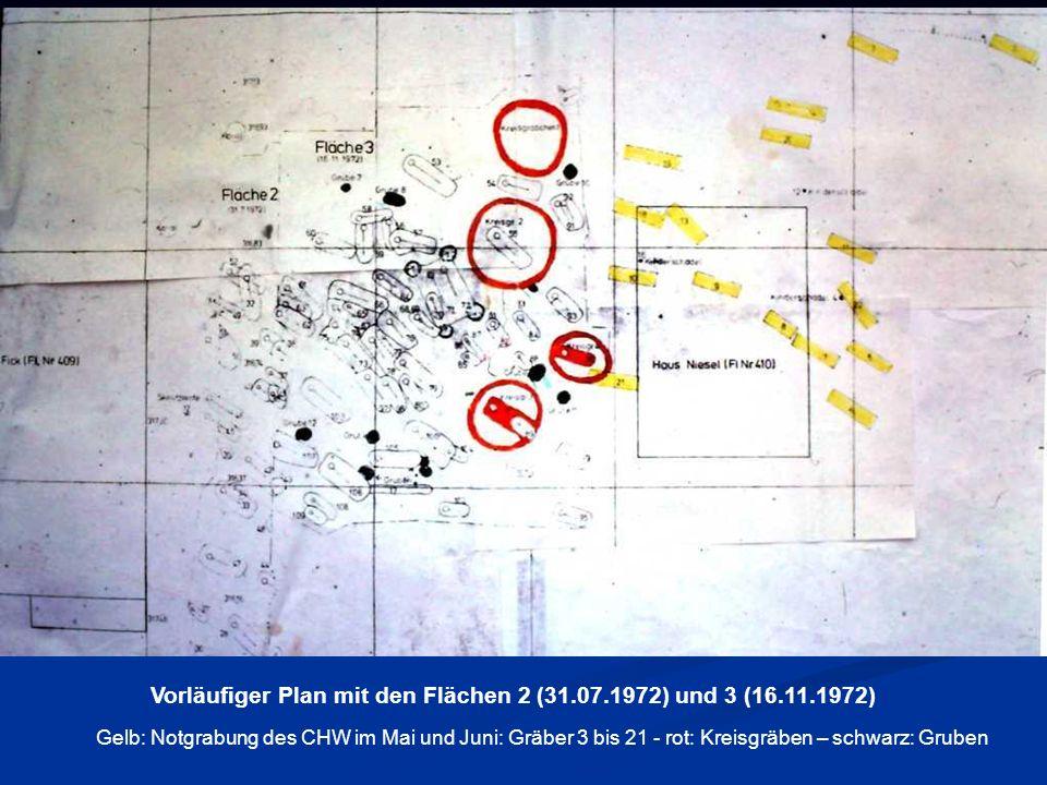 Vorläufiger Plan mit den Flächen 2 (31.07.1972) und 3 (16.11.1972) Gelb: Notgrabung des CHW im Mai und Juni: Gräber 3 bis 21 - rot: Kreisgräben – schw