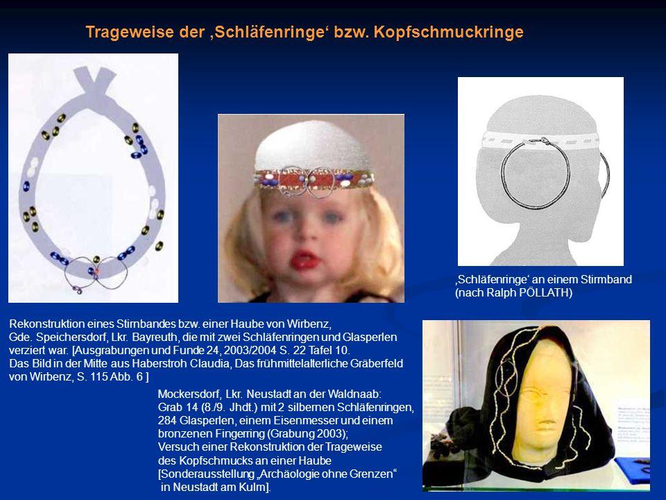 Schläfenringe an einem Stirmband (nach Ralph PÖLLATH) Trageweise der Schläfenringe bzw. Kopfschmuckringe Mockersdorf, Lkr. Neustadt an der Waldnaab: G