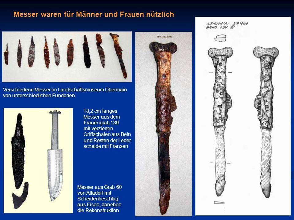 Messer waren für Männer und Frauen nützlich Messer aus Grab 60 von Alladorf mit Scheidenbeschlag aus Eisen, daneben die Rekonstruktion 18,2 cm langes