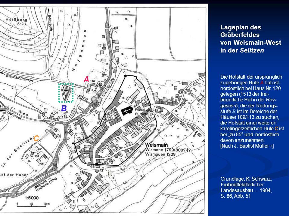 Grundlage: K. Schwarz, Frühmittelalterlicher Landesausbau … 1984, S. 86, Abb. 51 Lageplan des Gräberfeldes von Weismain-West in der Selitzen Die Hofst