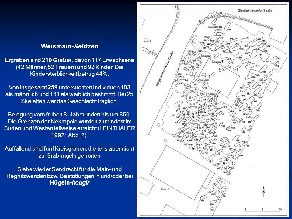 Weismain-Selitzen Ergraben sind 210 Gräber, davon 117 Erwachsene (42 Männer, 52 Frauen) und 92 Kinder. Die Kindersterblichkeit betrug 44%. Von insgesa