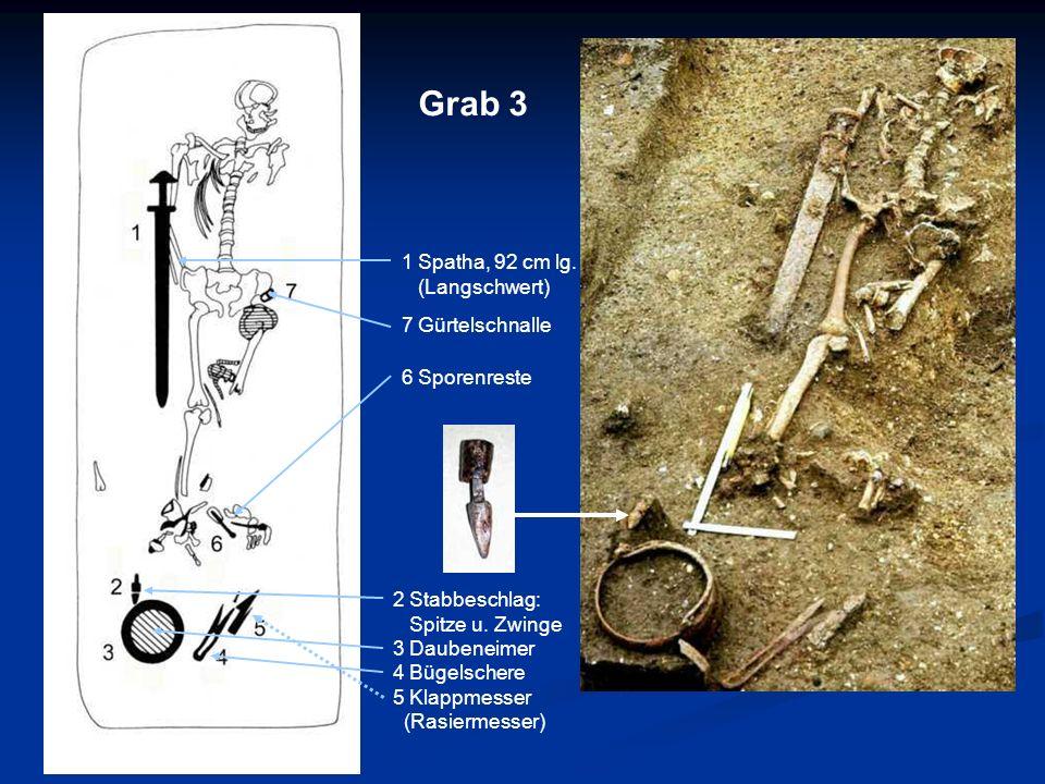 1 Spatha, 92 cm lg. (Langschwert) 7 Gürtelschnalle 6 Sporenreste 2 Stabbeschlag: Spitze u. Zwinge 3 Daubeneimer 4 Bügelschere 5 Klappmesser (Rasiermes