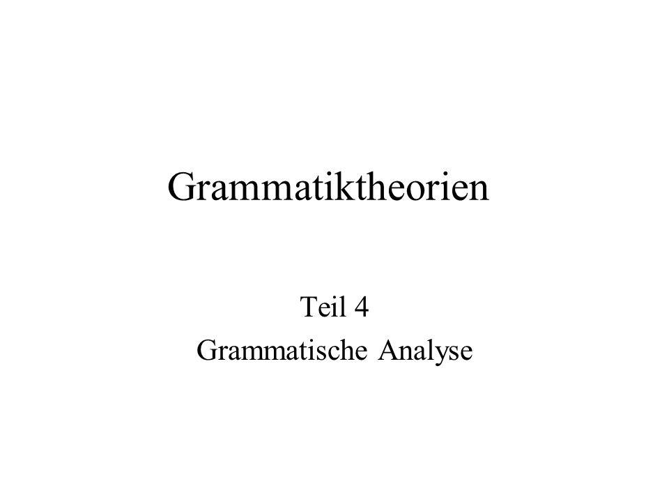 Grammatiktheorien Teil 4 Grammatische Analyse